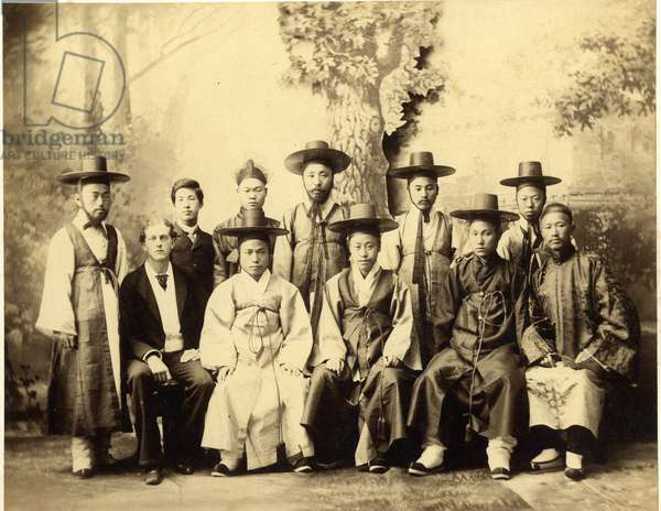The First Korean mission to the United States, 1883 (sepia photo)