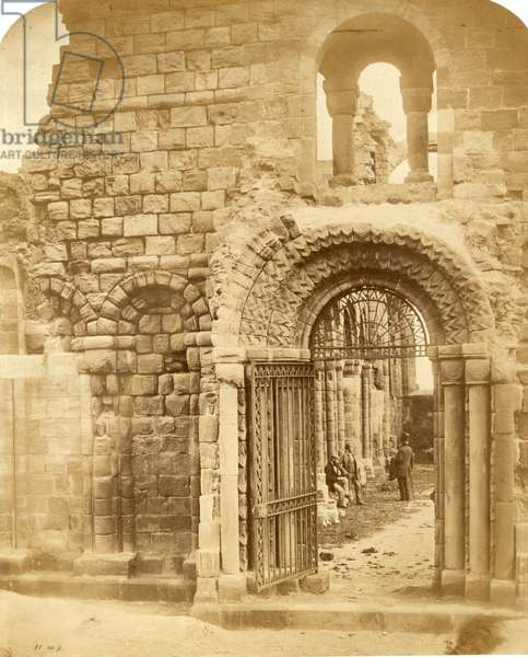 Church ruins with three men (salted paper print)