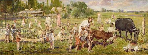 Summer Kindergarten (Lenin's Children) 1955 (oil on canvas)