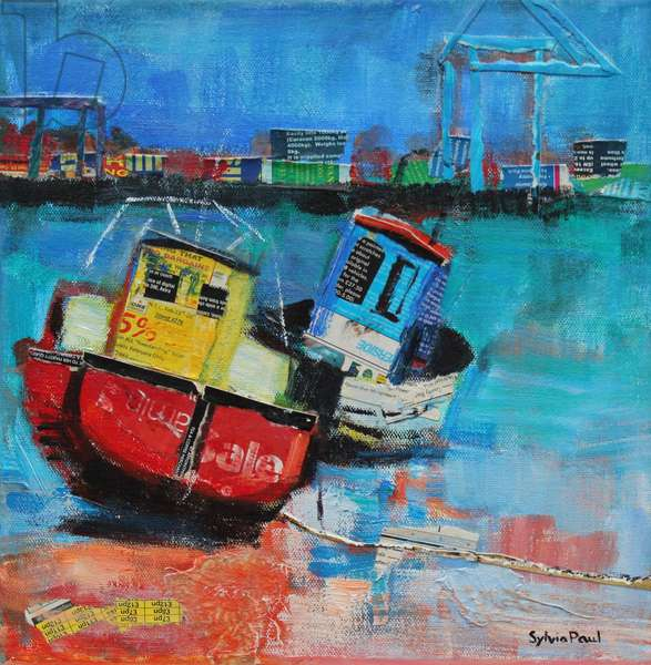 Two Jolly Fishing Boats 2012, acrylic/paper collage
