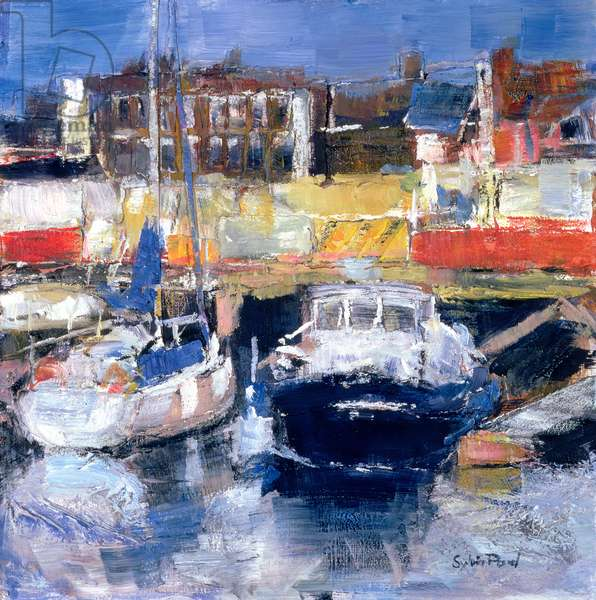 Lowestoft Harbour View (mixed media and collage on paper)