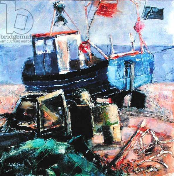 Fishing Boat on the Beach, Aldeburgh, 2002 (mixed media collage)