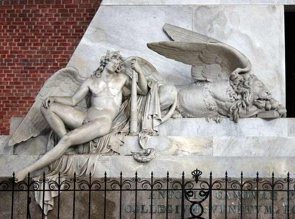 Detail of the funerary monument and tomb of Antonio Canova, Santa Maria Gloriosa dei Frari, Venice (photo)