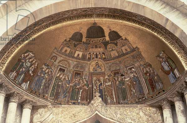 The Arrival of the Body of St. Mark at the Basilica above the portal of the Door of St. Alipio, 1260-70 (mosaic)