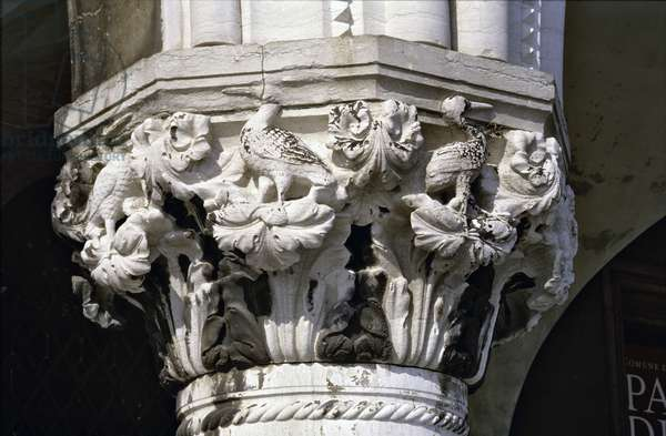 Capital carved with birds, from the arcade on the south facade (stone)
