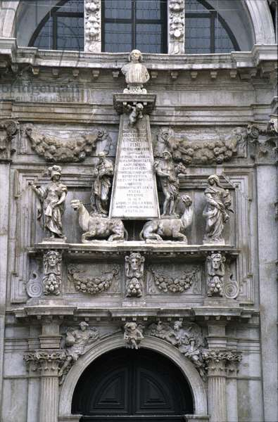 Detail of the Facade of the Church of San Moise (1688) (photo)