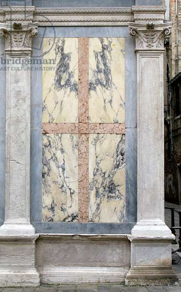 Pilaster and panel from the facade of the church, built in 1481-89 (marble)