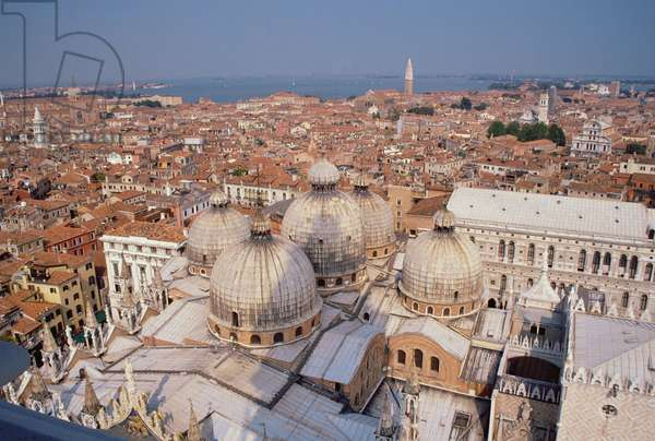 View of the north-east of Venice across the domes of San Marco, from the campanile (photo)