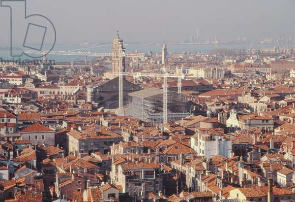 View from the Campanile showing scaffolding on the Fenice Theatre (photograph)