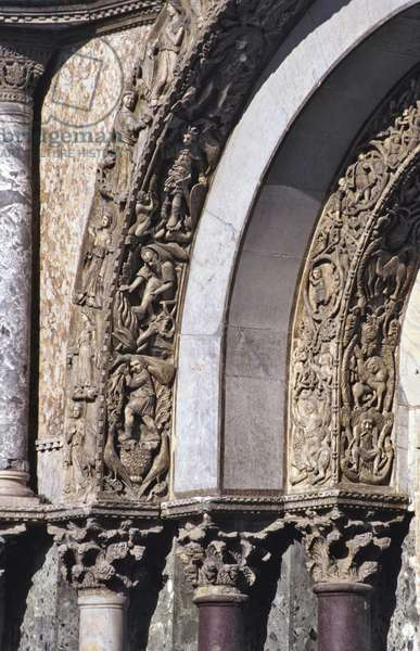 Carvings from the inner arch of the central doorway, c.1240 (stone)