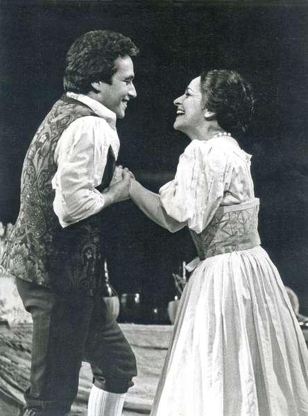 Jose Carreras as Nemorino and Ileana Cotrubas as Adina in 'L'Elisir d'Amore', Royal Opera House, Covent Garden, London, England, 1976 (b/w photo)