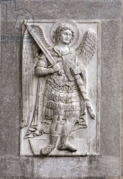Low relief sculpture of the Archangel Michael on the north facade of the Basilica of San Marco, Venice (photo)