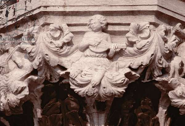 Capital carving from a portico (photograph)