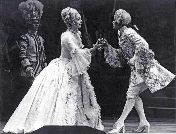 Valerie Masterson as Sophie and Sandra Browne as Octavian in 'Der Rosenkavalier', English National Opera, London Coliseum, 1975 (b/w photo)