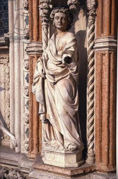 Figure of Prudence, from the Porta della Carta (marble)