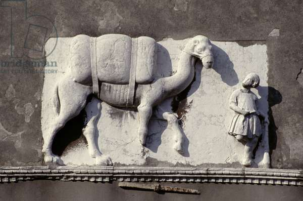 Relief of a man leading a camel, from the facade of Palazzo Mastelli (marble)