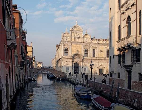 Early Renaissance facade of the Scuola Grande di San Marco on the Rio del Mendicanti, Venice (photo)