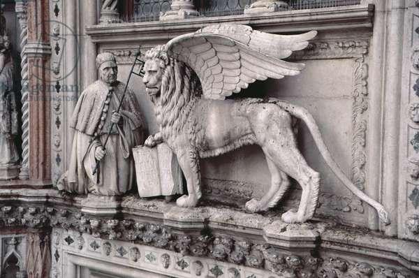 Doge Francesco Foscari (c.1373-1457) kneeling before the Lion of St. Mark, c.1438-43 (marble)