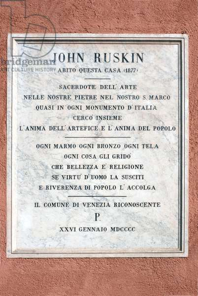 Plaque to mark the house in which John Ruskin (1819-1900) lived in 1877 (marble)