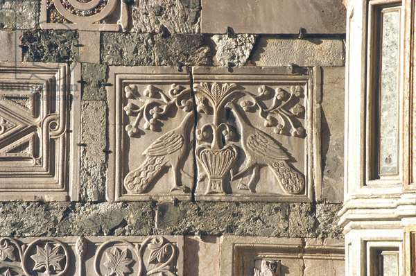 Carved peacocks, panel from the exterior (stone)