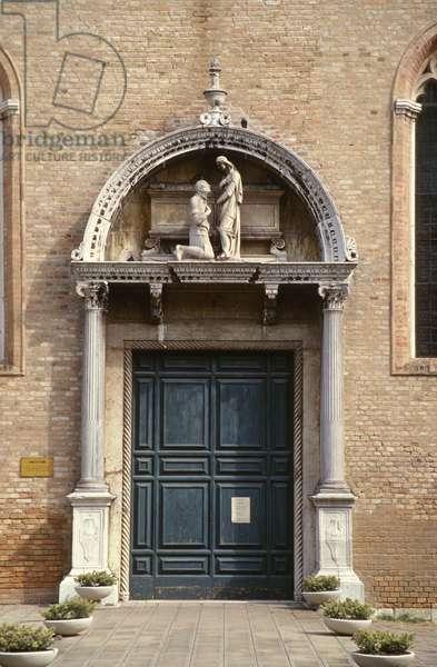 Church portal with Admiral Vittorio Cappello kneeling before St. Helena, sculpture attributed to either Antonio Rizzo (fl.1465-98) or Niccolo di Giovanni Fiorentino (fl.1457-1505) c.1467 (photo)