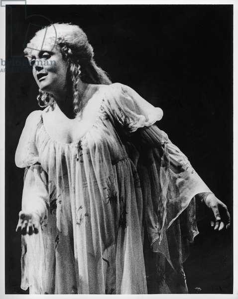 Della Jones as Clori in 'L'Egisto' by Francesco Cavalli (1602-76) 1982 (b/w photo)