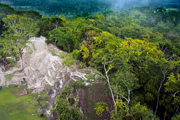 Aerial view of Mayan ruins of Xunantunich Archaeological Site near San Ignacio, Belize (photo)