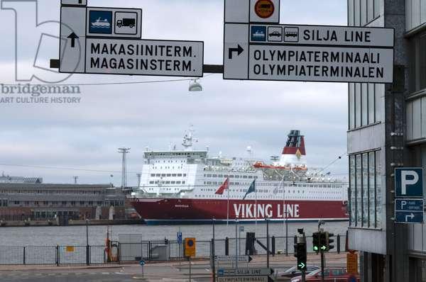 Ferry-boat of the Viking Line docked in Helsinki port, Helsinki, Finland, Europe, 2018 (photo)
