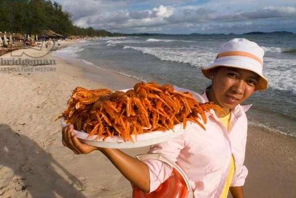 Selling Crayfish in Sihanoukville Beach, Cambodia (photo)