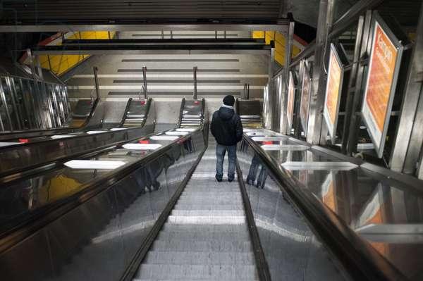 Inside subway, Helsinki, Finland, One of the entrances to subway Helsinki, 2018 (photo)