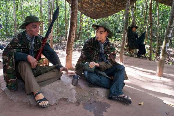 Cu Chi tunnels, Vietnam, Soldiers recreation of Vietnam War Cu Chi, Vietnam (photo)