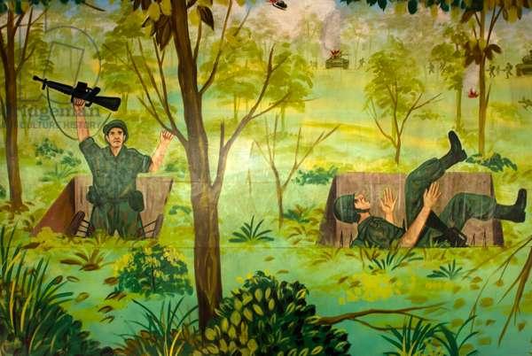 Cu Chi tunnels, Vietnam, American soldiers loser paint recreation of Vietnam War Cu Chi, Vietnam (photo)