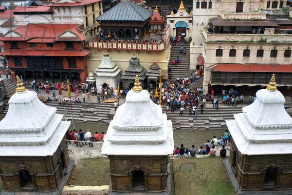 Ceremonial cremation place, Ghats, of Pashupatinath Temple at the holy Bagmati river, Kathmandu, Nepal (photo)