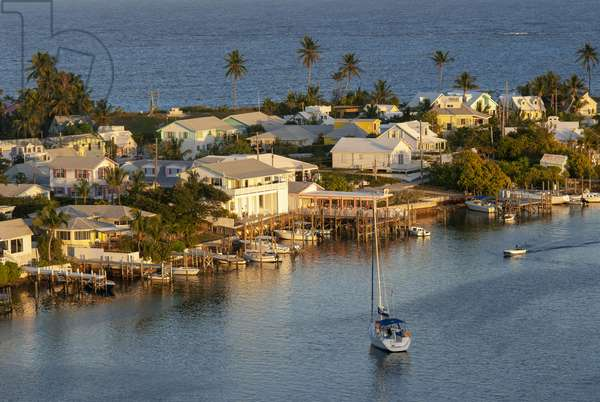Aerial views of the Hope Town, Elbow Cay, Abacos. Bahamas. Lighthouse and harbor in the tiny village of Hope Town, 2019 (photo)