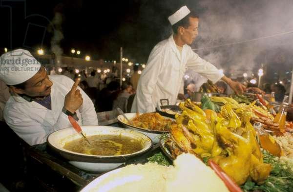 Food stall at Djemaa el Fna square, Marrakesh, Morocco (photo)