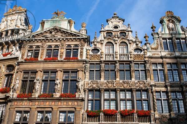 Background buildings Louve, Sac and Brouette, Grand Place, Brussels, Belgium (photo)