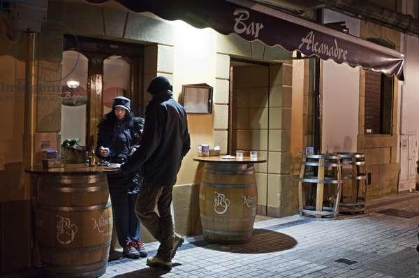 Outside basque bar Alcanadre in Hondarribia Fuenterrabaa Gipuzkoa, Basque Country, Spain,, 2018 (photo)