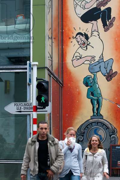 Brussels is the comic-book capital of Europe, Mural in the streets of the city center, Belgium (photo)