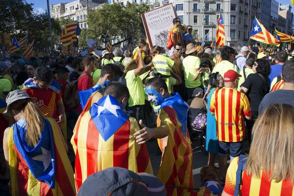One million Catalans march for independence on September 11, 2017 in Barcelona center, Catalonia, Spain, 2017 (photo)
