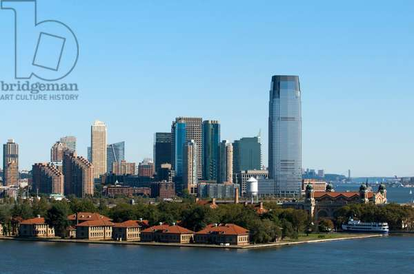 Ellis Island New York United States of America North America. Ellis Island. Lower Manhattan Financial District Skyscrapers, from New York Harbor, New York City, USA (photo)