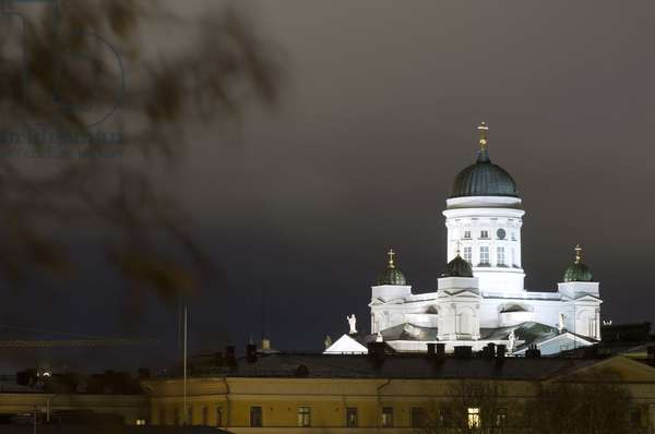 Helsinki lutheran cathedral at night in Helsinki Finland, 2018 (photo)