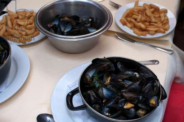 Typical dish of Brussels: baked mussels with white wine with frenchfried in Brussels Belgium (photo)