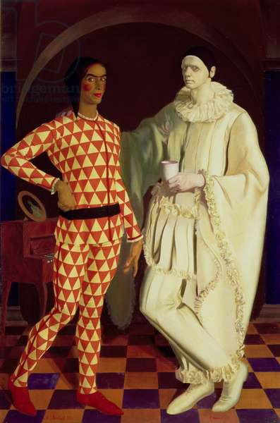 Self Portraits as Harlequin and Pierrot, 1914 (oil on canvas)
