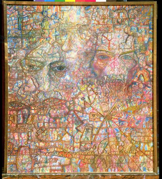 Faces, 1940 (oil on paper)