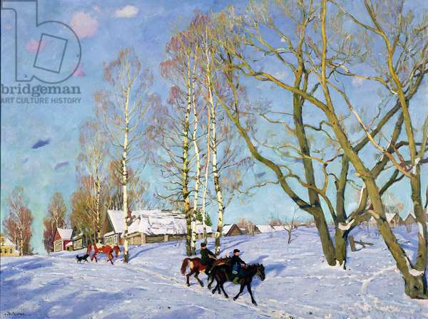 Sunny Morning in March, Ligachevo, Moscow Province, 1915 (oil on canvas)