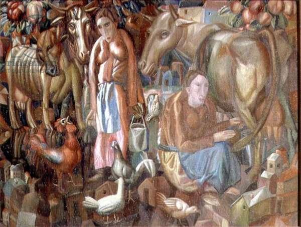 Milkmaids, 1914 (oil on canvas)