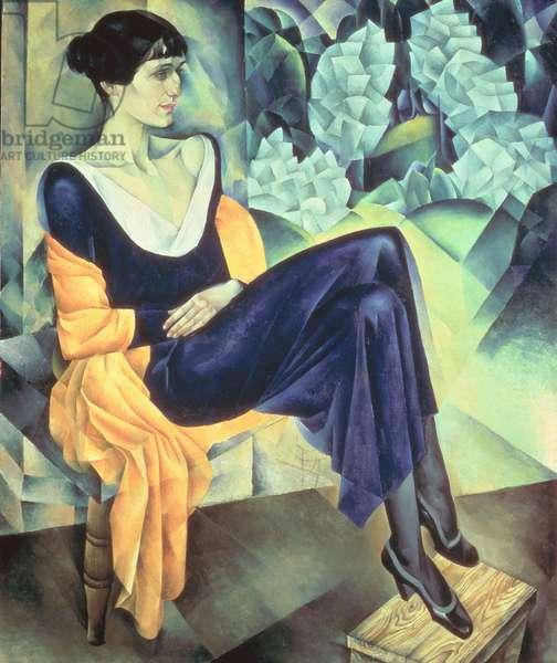 Portrait of the Russian poet Anna Andreevna Akhmatova (1889-1966), 1914 (oil on canvas)