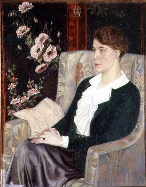 Portrait of Evdokiya Nikolaevna Glebova, the Artist's Sister, 1915 (oil on canvas)