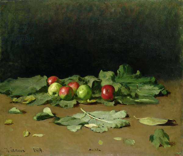 Still Life of Apples and Leaves, 1879 (oil on canvas)