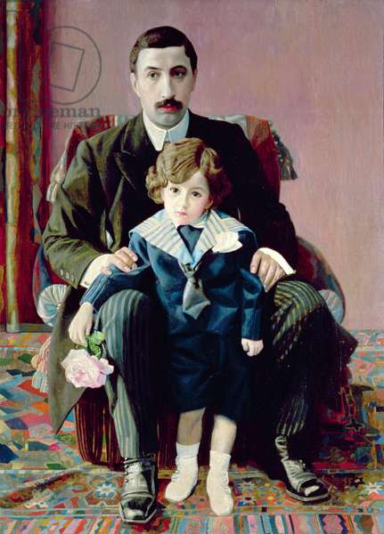 Portrait of Arman Frantsevich Aziber and his son, 1915 (oil on canvas)